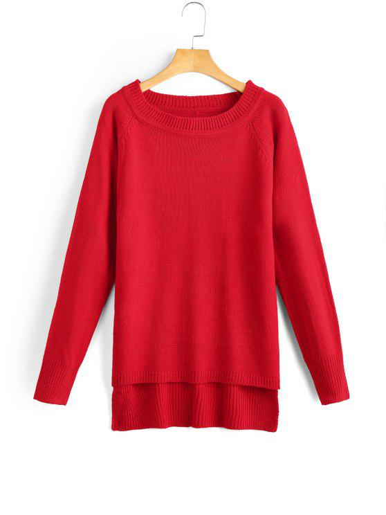 Raglan Sleeve High Low Sweater RED: Sweaters ONE SIZE | ZAFUL