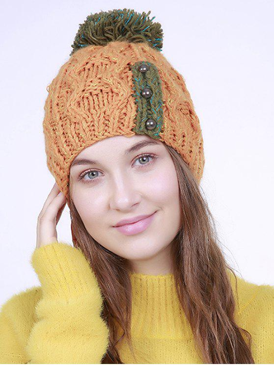 fashion Three Beaded Button Knit Pom Hat - ORANGE
