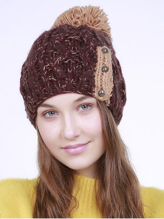 fancy Three Beaded Button Knit Pom Hat - COFFEE