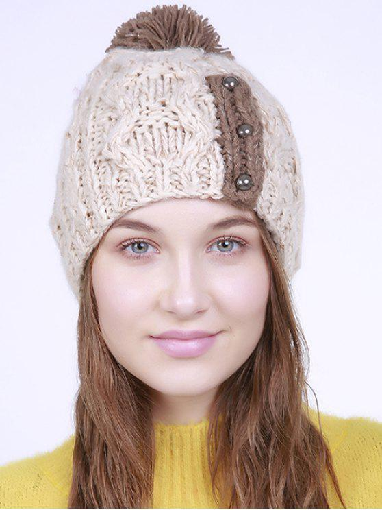 unique Three Beaded Button Knit Pom Hat - BEIGE