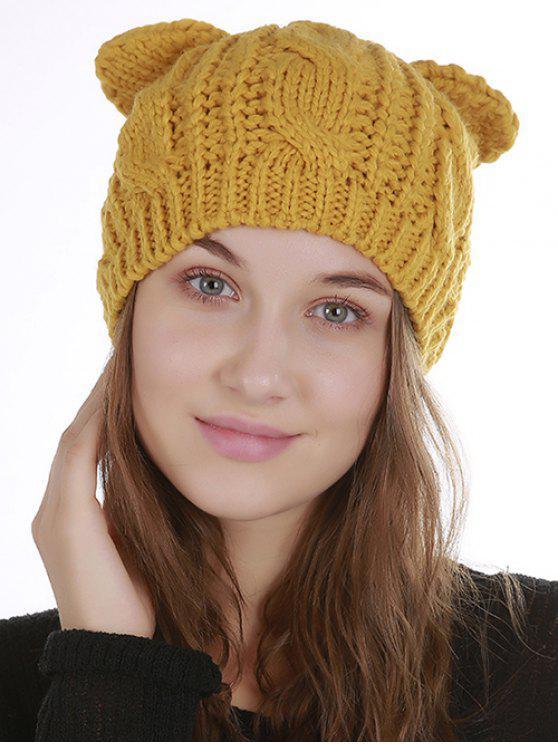 Bonnet en Tricot Souple Décoré Oreilles de Chat pour Halloween - Jaune