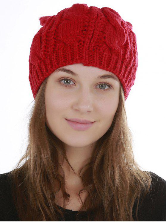 women Halloween Cat Ear Decorated Slouchy Knit Beanie - RED