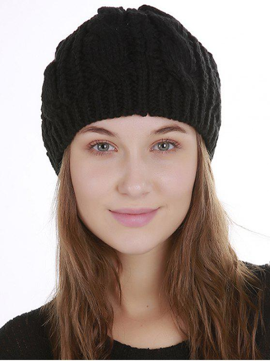 women's Halloween Cat Ear Decorated Slouchy Knit Beanie - BLACK