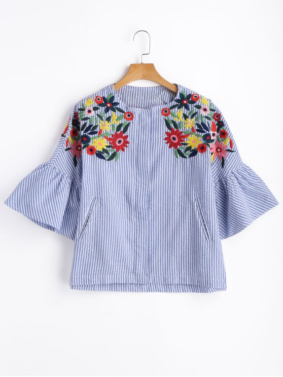 shop Zippered Striped Embroidered Blouse - STRIPE M