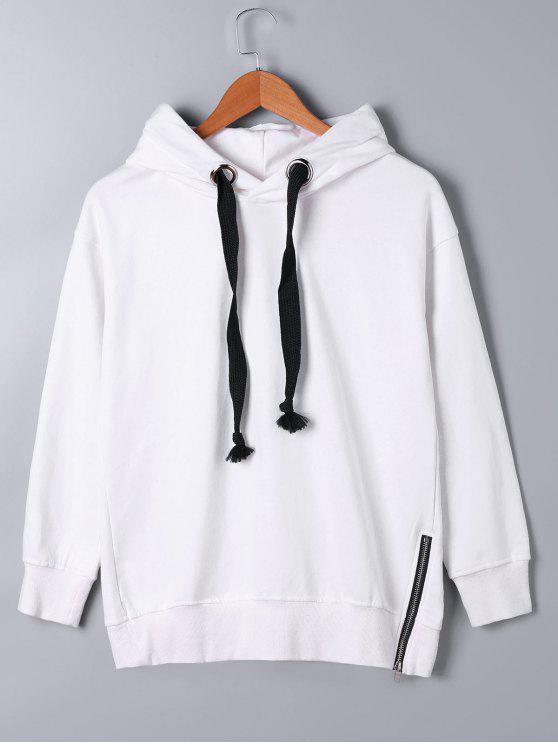 Sweat à Capuche avec Zip Décoratif - Blanc L
