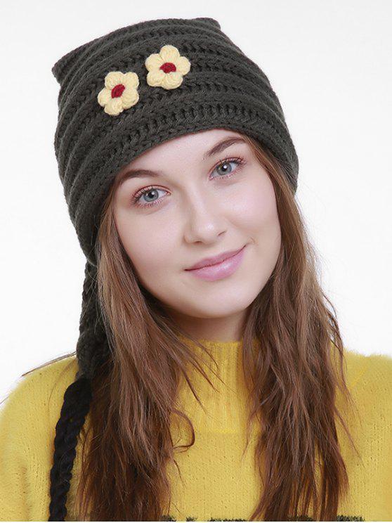 Chapeau en tricot de Noël à petite fleur Longue queue - vert foncé