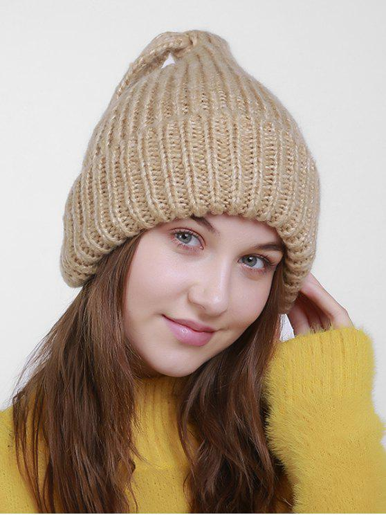 buy Christmas Flanging Knit Hat with Tail - LIGHT KHAKI