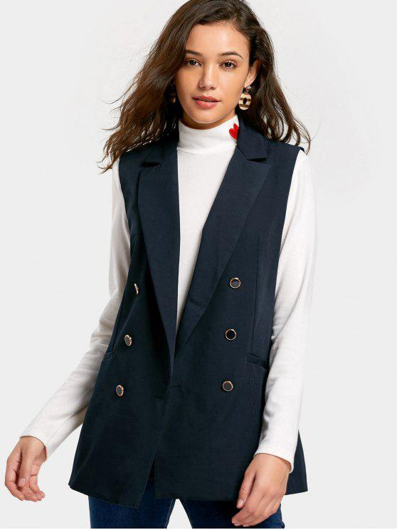 women's Pockets Double-breasted Waistcoat - PURPLISH BLUE L
