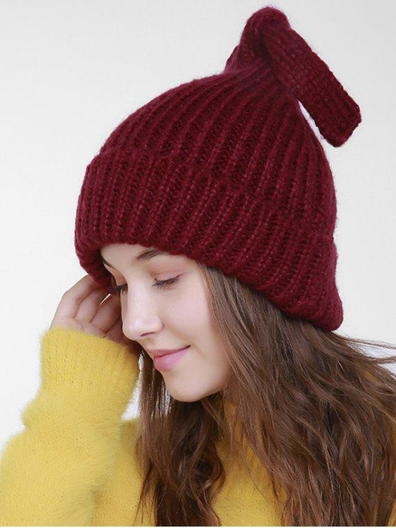 ladies Christmas Flanging Knit Hat with Tail - DARK RED