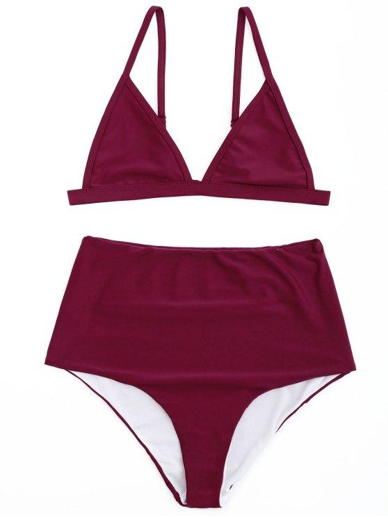 Ensemble de bikini à haute taille - Rouge vineux  S