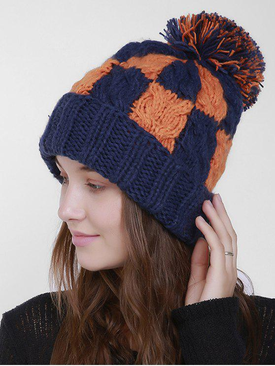 Color Block Crochet Knit Plaid Pom Hat - Bleu Foncé