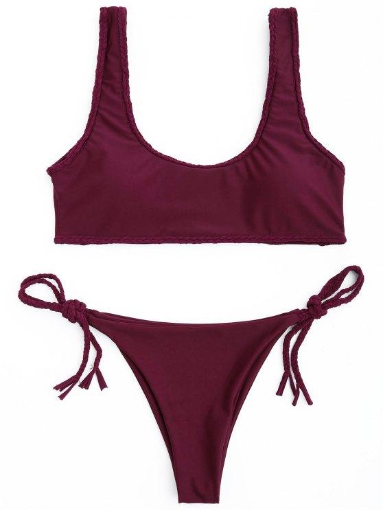 shops Braided Trim Scoop Bikini Set - WINE RED M