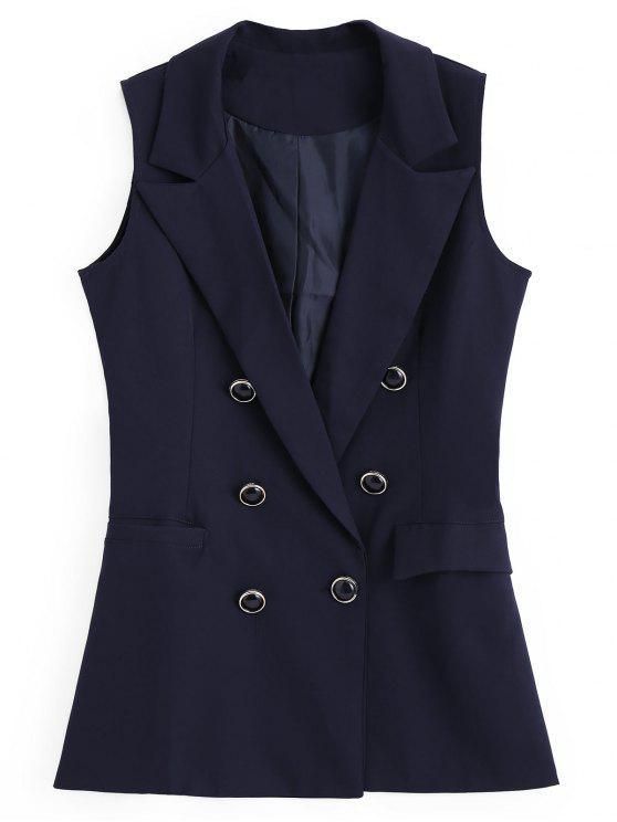 Gilet à Double Boutonnage Asymétrique avec Poches - Bleu Violet M