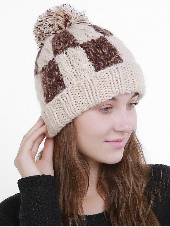 Bloque de color Crochet Knit Plaid Pom Hat - Beis
