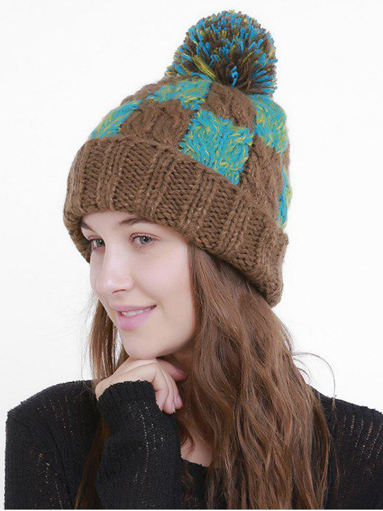 Bloque de color Crochet Knit Plaid Pom Hat - Café