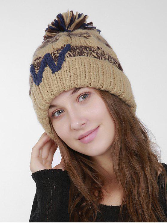 Letter W Stripe Knit Pom Hat - Cor de Caqui
