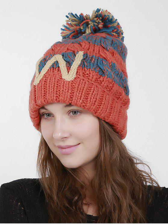 womens Letter W Stripe Knit Pom Hat - ORANGE RED