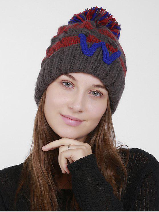 Letter W Stripe Knit Pom Hat - Cinza Escuro