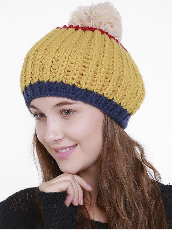 Color Block Flanging Pom Knitting Beanie - Amarelo
