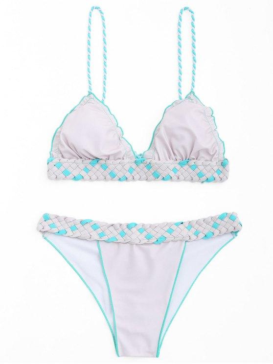 shop Frilled Macrame Scrunch Butt Bikini Set - PINK + GREY L