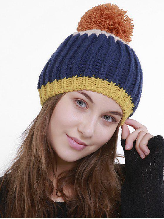 Color Block Flanging Pom Knitting Beanie - Marrom Escuro 3952/1