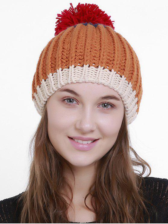Color Block Flanging Bonnie en tricot - Orange