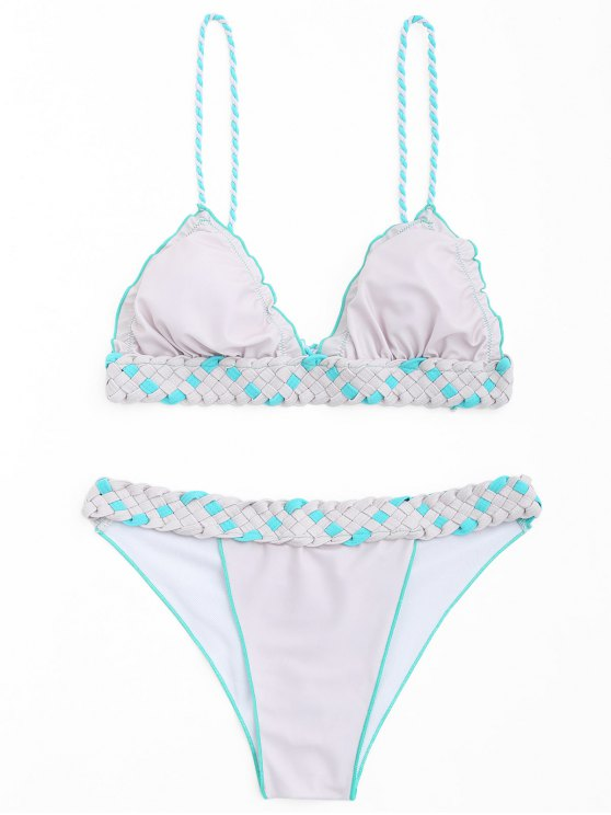 buy Frilled Macrame Scrunch Butt Bikini Set - PINK + GREY S