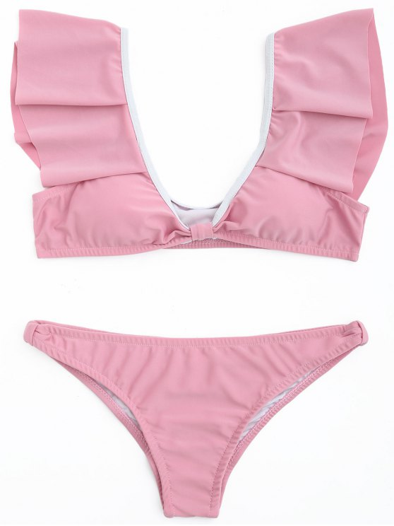 women's Ruffle Scoop Bikini Set - DEEP PINK L