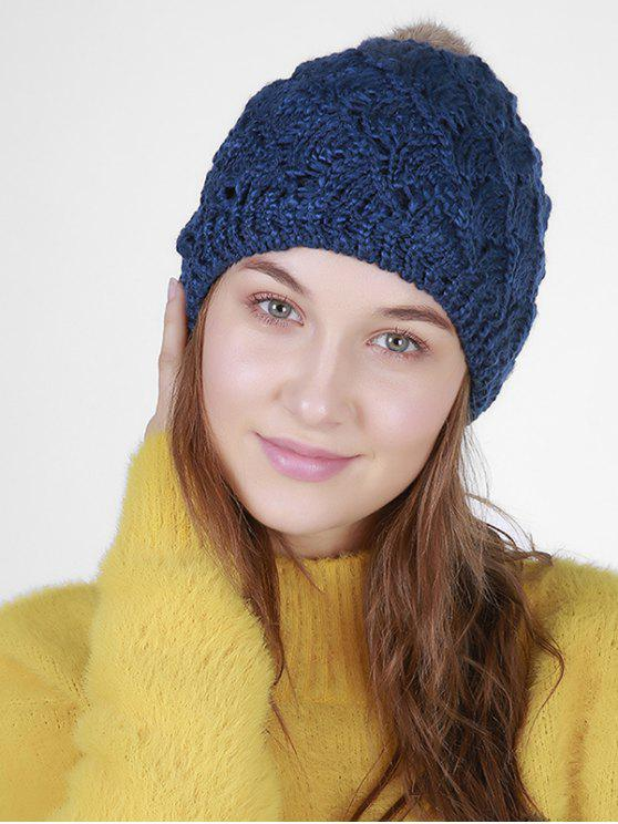 22f6b63290c 26% OFF  2019 Fan Shape Crochet Knit Pom Hat In DEEP BLUE
