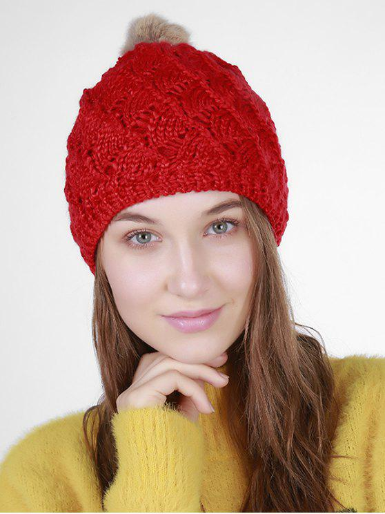 new Fan Shape Crochet Knit Pom Hat - RED