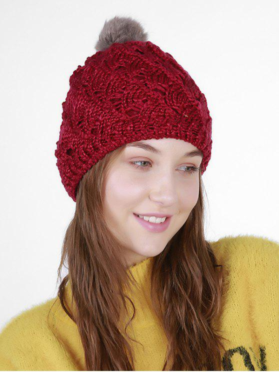 outfits Fan Shape Crochet Knit Pom Hat - DARK RED