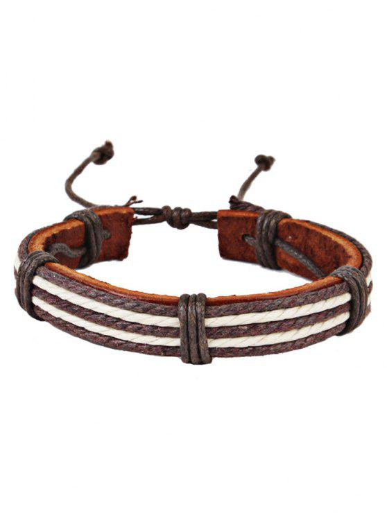 outfit Adjustable Faux Leather Friend Bracelet - COFFEE
