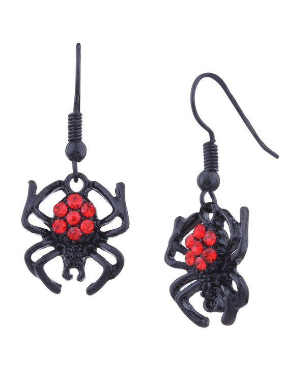 Rhinestone Halloween araña gancho pendientes - Negro