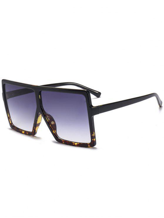 Full Frame Square übergroße Sonnenbrille - Schwarz+Leopard c2