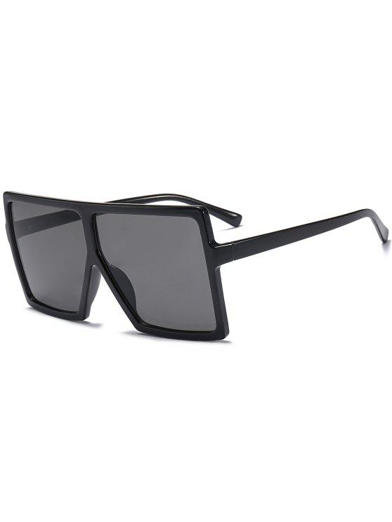 hot Full Frame Square Oversized Sunglasses - BRIGHT BLACK+GREY