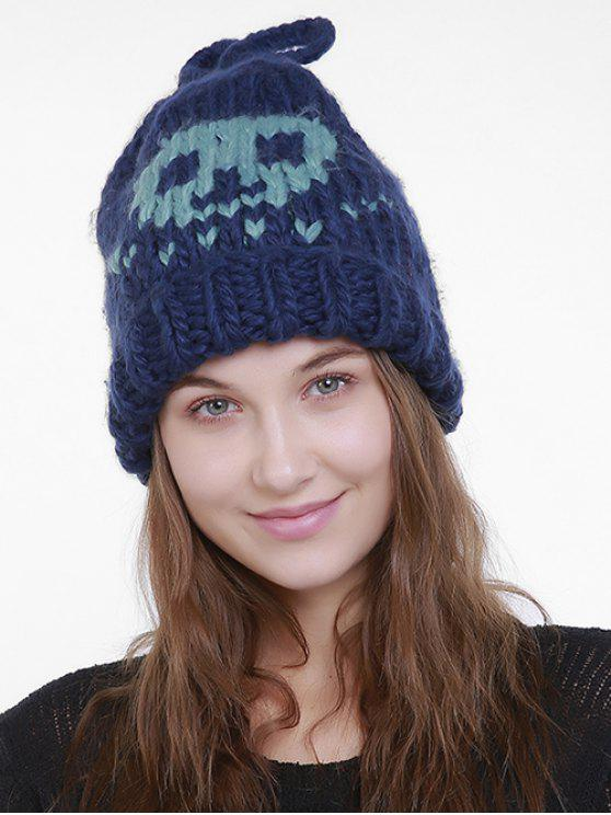 chic Halloween Cartoon Skull Embroidery Knit Hat - BLUE GREEN