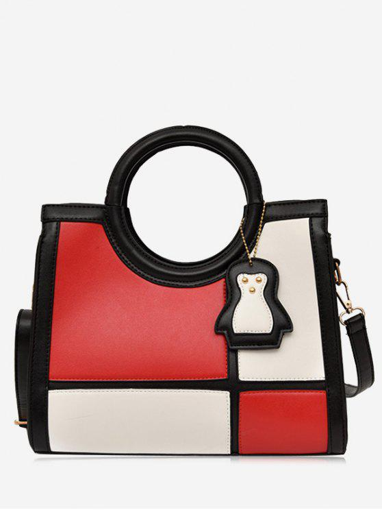 fashion Color Block Pendant Totes With Strap - RED