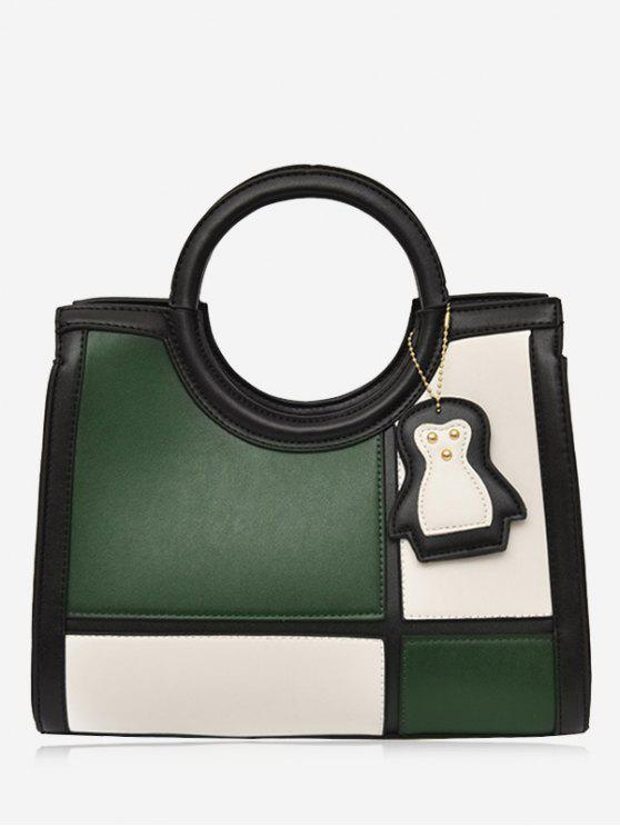 fancy Color Block Pendant Totes With Strap - GREEN