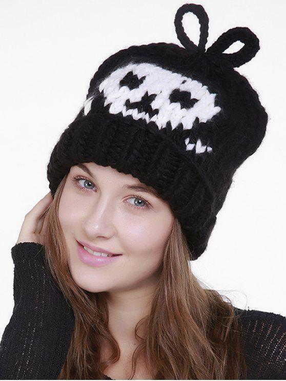 Chapéu de malha bordado do crânio dos desenhos animados de Halloween - Preto