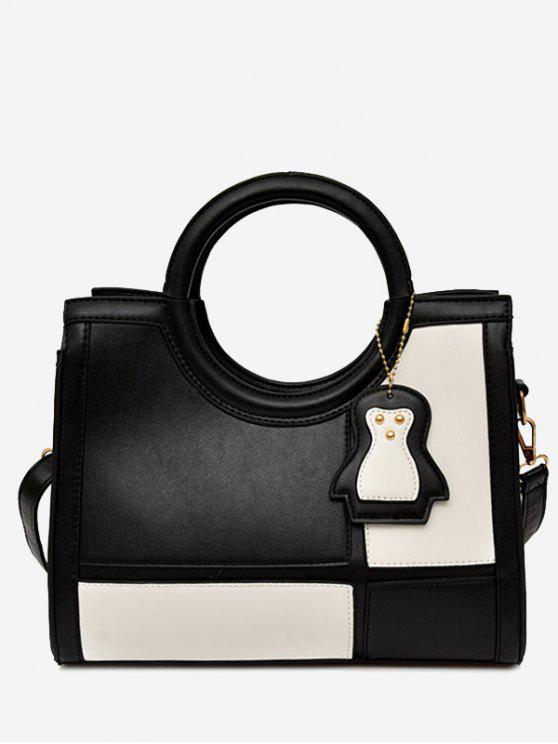 sale Color Block Pendant Totes With Strap - BLACK