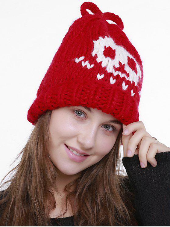 Chapéu de malha bordado do crânio dos desenhos animados de Halloween - Vermelho