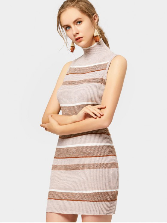 fashion High Neck Sleeveless Striped Knitted Dress - STRIPE L