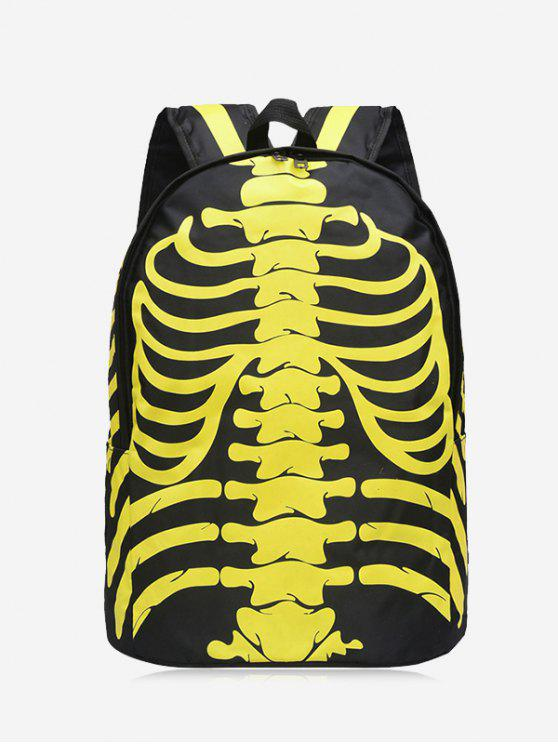 trendy Skull Noctilucence Striped Backpack - YELLOW