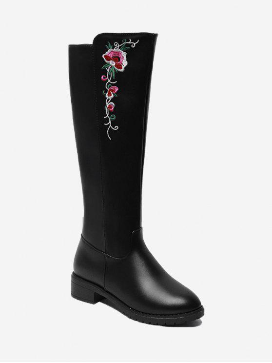 حذاء بطول الركبة مطرز بالأزهار ذو كعب منخفض - أسود 40