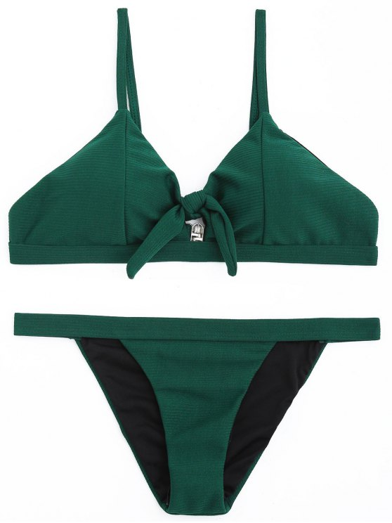 trendy Ribbed Low Waisted Bikini Set - BLACKISH GREEN M