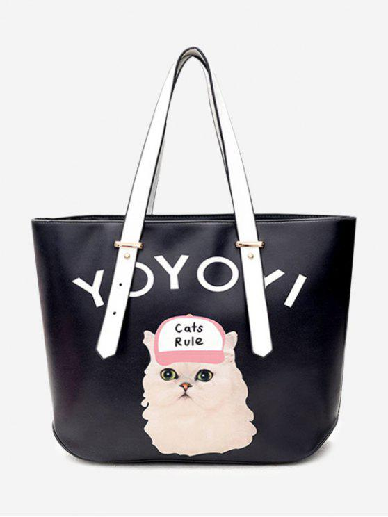 trendy Letter Cat Print Shoulder Bag - BLACK