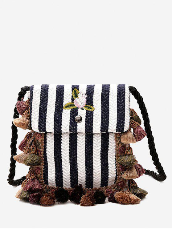Striped Tassel Embroidery Crossbody Bag - Cadetblue