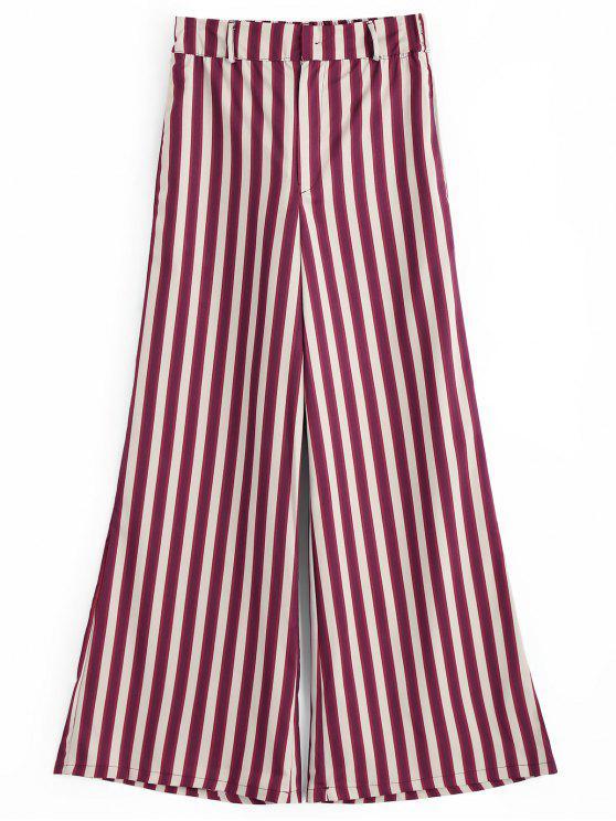 women Stripes High Waisted Wide Leg Pants - STRIPE M