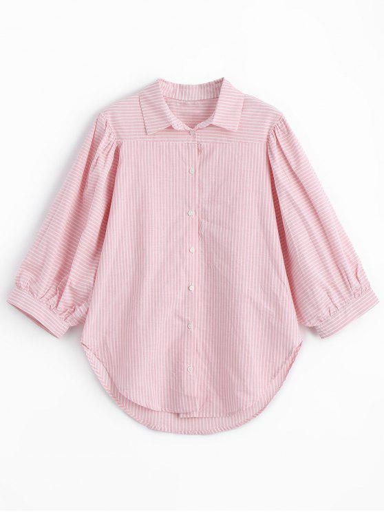 Chemise à Rayures et Manches Trois Quart - ROSE PÂLE M