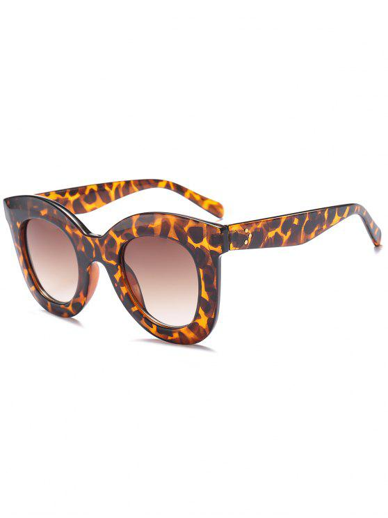Chunky Full Frame Plastic Sunglasses - Leopardo + Marrom Escuro